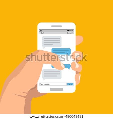 Hand holding smartphone and touching screen with text messaging. Vector flat illustration.