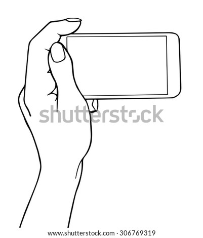 Hand holding smartphone. Demonstration device, horizontal screen. Vector illustration outline isolated on white background.