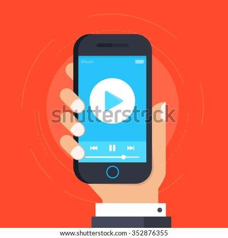 Hand holding Smartphone or Mobile phone with with video player on the screen. Movie app  concept. Vector flat illustration - stock vector