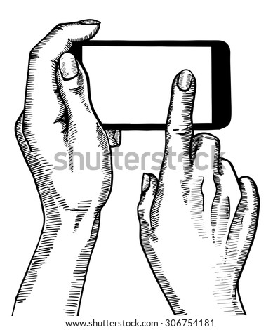 Hand holding smartphone. Phone touch gestures, touch screen.  Vintage sketch style.  Vector illustration  isolated on white background. - stock vector