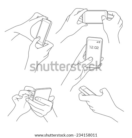 Hand holding smartphone sketch vector illustrations collection