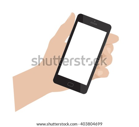 Hand holding smartphone. Smart phone blank. Vector illustration