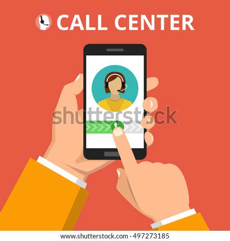 Hand holding smartphone to call customer support. Female avatar on the screen. Callcenter consept. Vector flat illustration.