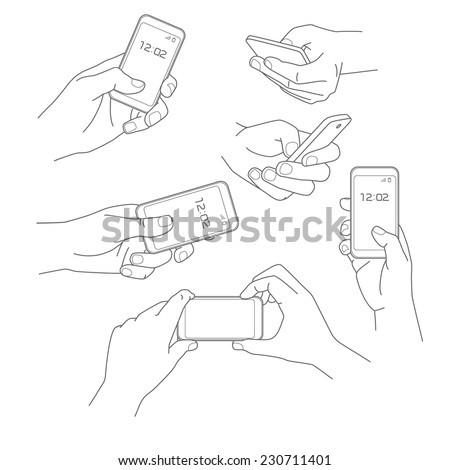 Hand holding smartphone vector illustrations collection  - stock vector