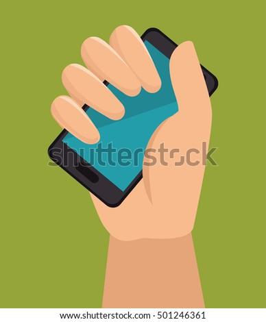 hand holding smartphone with blue screen