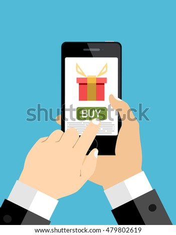 Hand holding smartphone with gift box on the screen. Finger touch the button. Vector flat illustration.