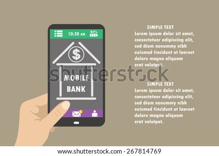 Hand holding smartphone with mobile banking icon on the screen, flat design concept.  - stock vector