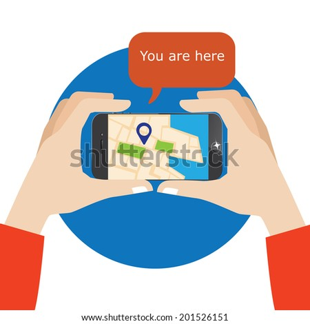 hand holding smartphone with mobile gps navigation on a screen and route with check-in symbols. - stock vector