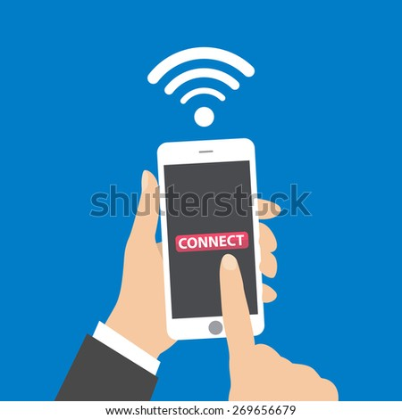 Hand holding smartphone with wifi wireless connection business concept isolated illustration - stock vector