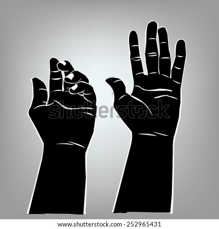 Hand holding something on shadow design. - stock vector