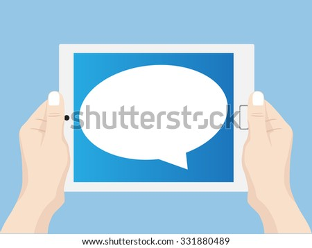 Hand holding tablet computer with Speech Bubbles Design, Vector Illustration EPS 10. - stock vector