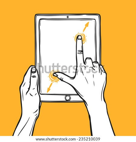 Hand holding tablet gadget and pinch gesture sketch on orange background vector illustration. - stock vector