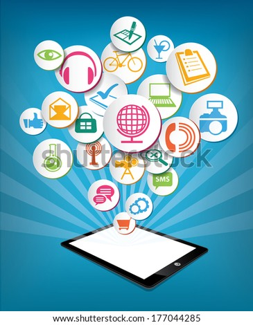 Hand holding tablet with icons. Communication in the network social - stock vector