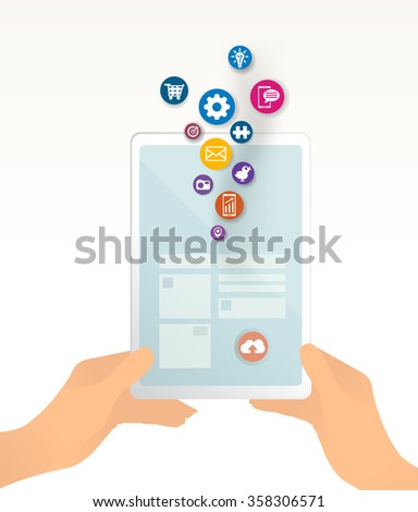 Hand holding tablet with icons. Uploading - downloading data, hand holding tablet, mobile device. wireless communication. - stock vector