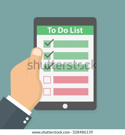 Hand holding tablet with to do list on it. Flat style - stock vector