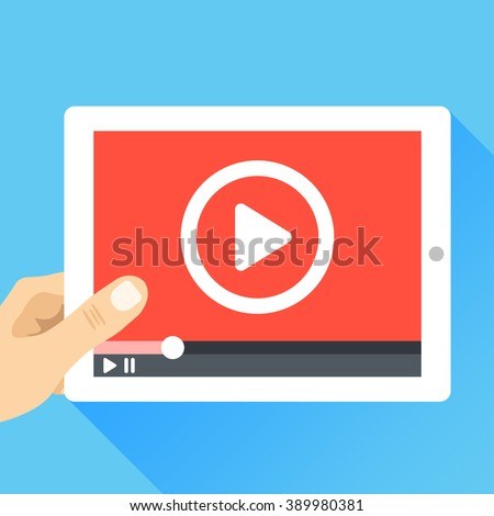 Hand holding tablet with video frame and play button. Video marketing, online cinema. Modern flat illustration, flat design elements for web banners, web sites, infographics. Vector illustration - stock vector