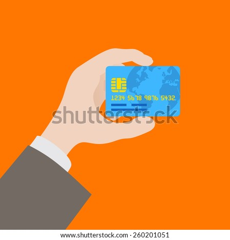 Hand holding the credit card against the orange background - stock vector