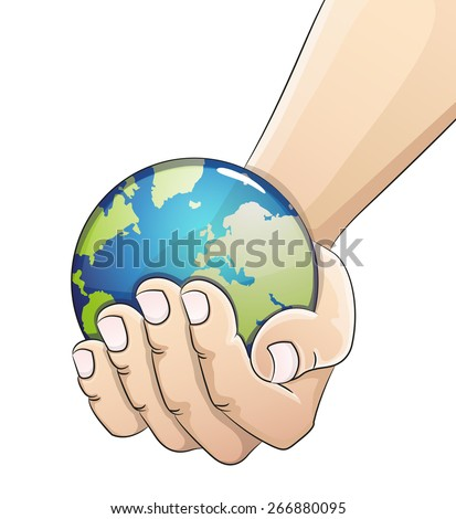 Hand holding the earth globe on white background. Saving the earth concept.  Earth Day illustration. - stock vector