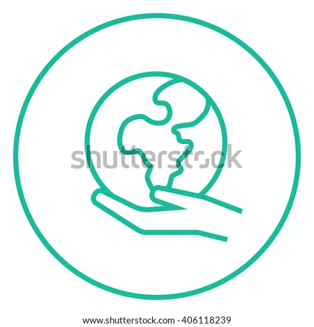 Hand holding the Earth line icon. - stock vector
