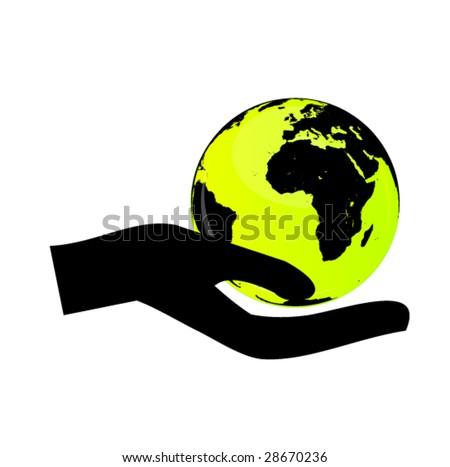 hand holding the globe 2 - stock vector