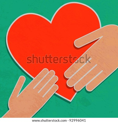Hand holding the heart. Charity - stock vector