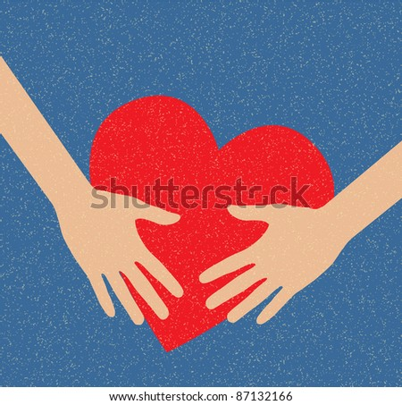 Hand holding the heart. Charity. Hand, arm, sends the heart. - stock vector