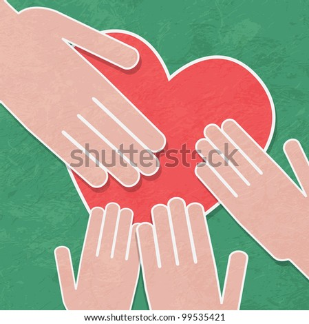 Hand holding the heart. Charity.hands hold a heart - stock vector