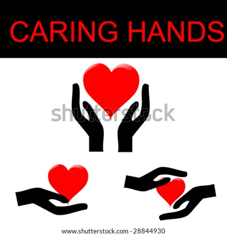 hand holding the heart set - stock vector