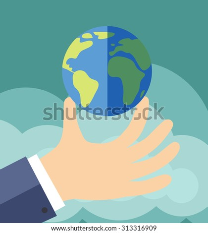 Hand holding the planet (vector illustration, flat concept) - stock vector