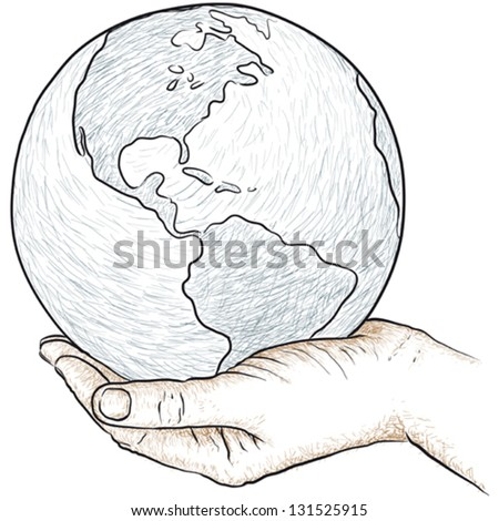 Hand holding the world - stock vector