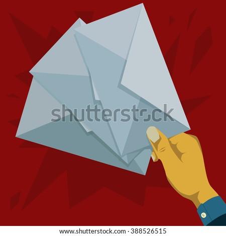 Hand holding three envelopes  - stock vector