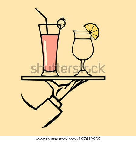 Hand holding tray  with glasses with cocktails  ,vector  icon - stock vector