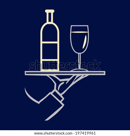 Hand holding tray  with  wine bottle and glass ,vector  icon - stock vector