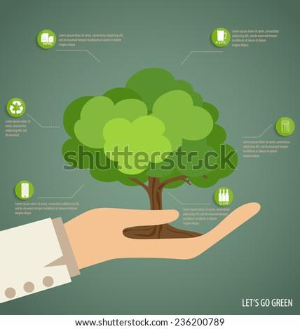 Hand holding Tree. Vector Illustration. - stock vector