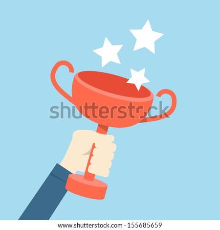 hand holding trophy, vector - stock vector