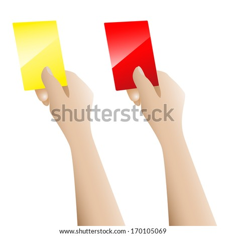 Hand holding up the red card and yellow card vector on white background