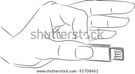 Hand holding USB flash drive - outline