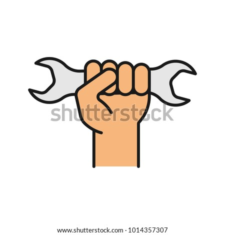 Hand Holding Wrench Color Icons Set Stock Vector Royalty Free
