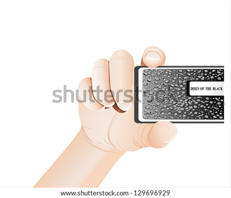 Hand holds business card on white background - stock vector