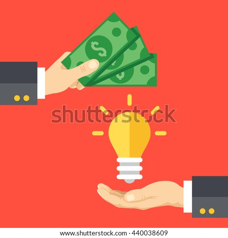 Hand holds money, hand holds light bulb. Buy idea, investing in innovation, modern technology business concept. Modern flat design graphics for web sites, web banners, infographics. Vector illustration - stock vector