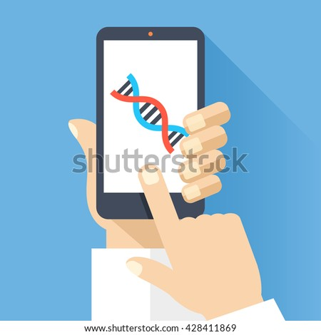 Hand holds smartphone with DNA icon on smartphone screen. Scientific research, medical research concept. Modern simple flat design for web banners, web site, infographics. Creative vector illustration - stock vector