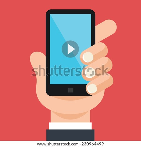 Hand holds smartphone with video player app on screen. Creative vector flat illustration. Modern style graphic design elements. Isolated on trendy red scarlet background. - stock vector