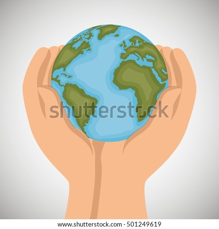 hand holds world earth icon design