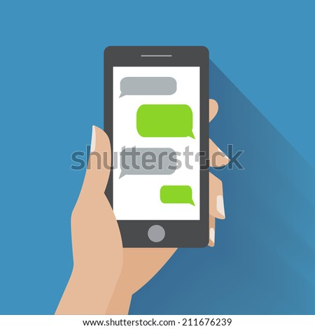 Hand holing black smartphone with blank speech bubbles for text. Text messaging flat design concept. Eps 10 vector illustration - stock vector