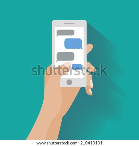 Hand holing white smartphone similar to iphon with blank speech bubbles for text. Text messaging flat design concept. Eps 10 vector illustration - stock vector