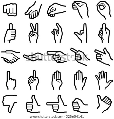 Hand icon collection - vector illustration