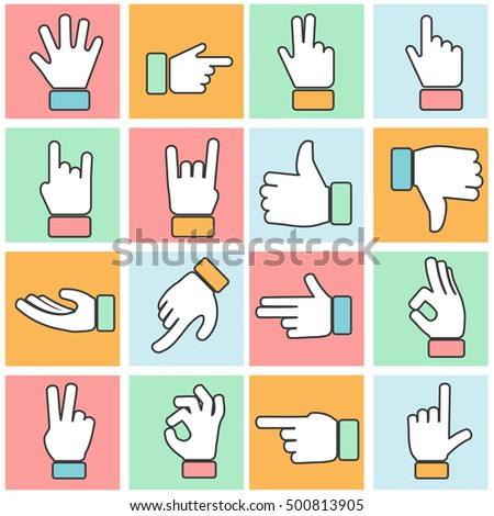 Hand icon colorful thin line. Vector set