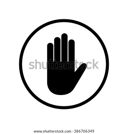 Hand icon in circle . Vector illustration