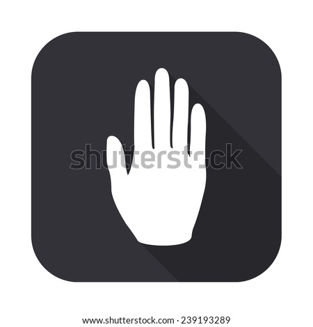 hand icon - vector illustration with long shadow isolated on gray - stock vector