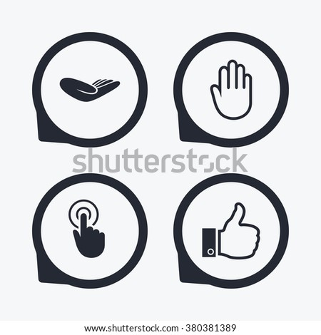 Hand icons. Like thumb up symbol. Click here press sign. Helping donation hand. Flat icon pointers.